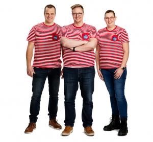 Suomen Laiturikauppa Oy:n yrittäjät Sakari, Ville ja Jenni.